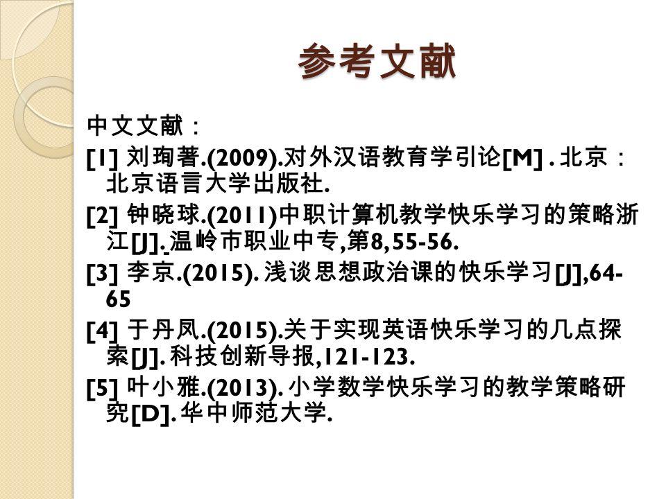 参考文献 中文文献: [1] 刘珣著.(2009). 对外汉语教育学引论 [M]. 北京: 北京语言大学出版社.