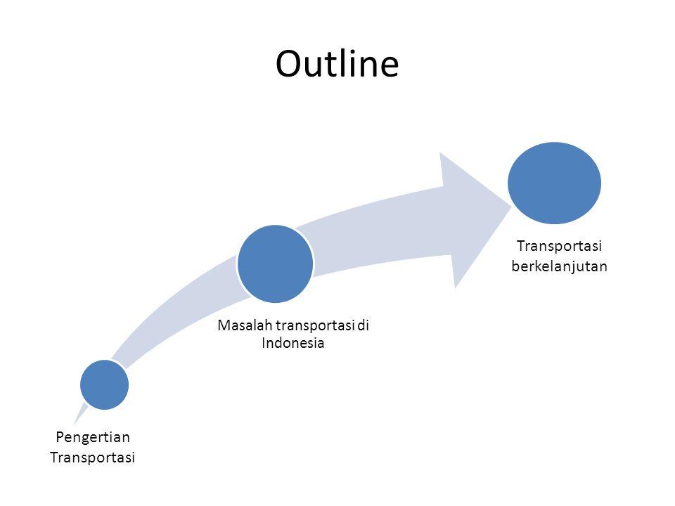 Masalah transportasi di Indonesia Outline Pengertian Transportasi Transportasi berkelanjutan