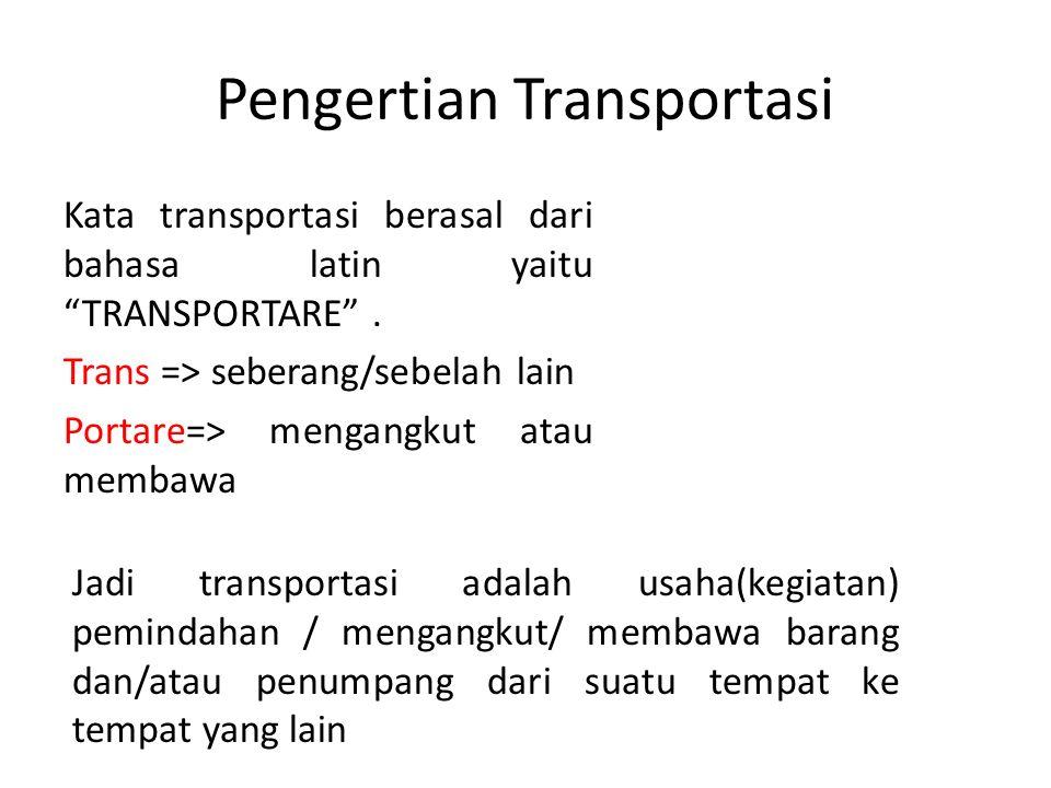 """Pengertian Transportasi Kata transportasi berasal dari bahasa latin yaitu """"TRANSPORTARE"""". Trans => seberang/sebelah lain Portare=> mengangkut atau mem"""