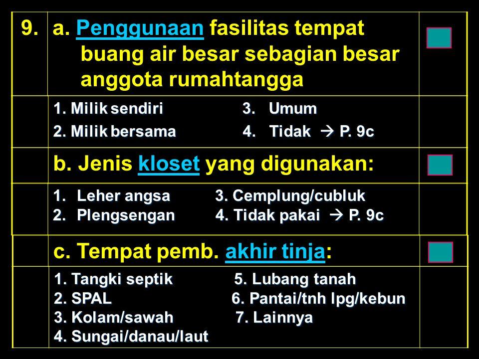 b. Jenis kloset yang digunakan:kloset 1.Leher angsa 3.