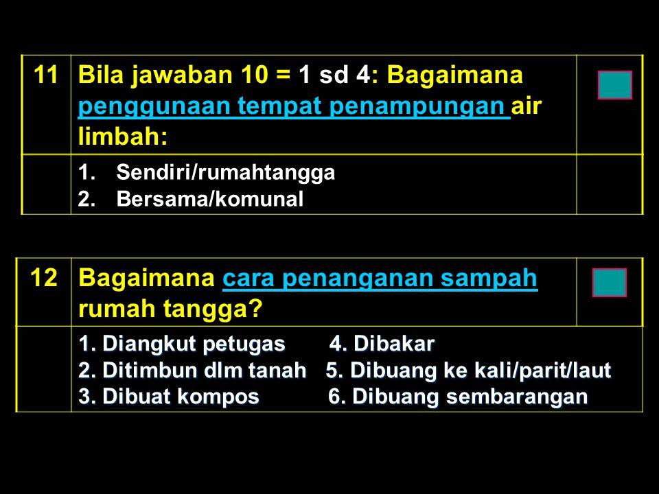 1Bila jawaban 10 = 1 sd 4: Bagaimana penggunaan tempat penampungan air limbah: penggunaan tempat penampungan 1.Sendiri/rumahtangga 2.Bersama/komunal 12Bagaimana cara penanganan sampah rumah tangga cara penanganan sampah 1.