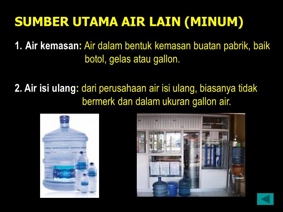 SUMBER UTAMA AIR LAIN (MINUM) 1.Air kemasan: Air dalam bentuk kemasan buatan pabrik, baik botol, gelas atau gallon.