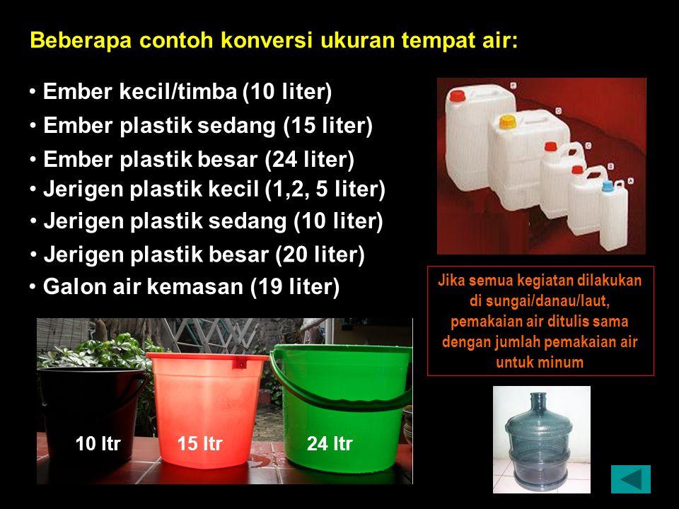 Ember kecil/timba (10 liter) Ember plastik sedang (15 liter) Ember plastik besar (24 liter) Jerigen plastik kecil (1,2, 5 liter) Jerigen plastik sedang (10 liter) Beberapa contoh konversi ukuran tempat air: 1 m 3 = 1000 liter Jika semua kegiatan dilakukan di sungai/danau/laut, pemakaian air ditulis sama dengan jumlah pemakaian air untuk minum 10 ltr15 ltr24 ltr Galon air kemasan (19 liter) Jerigen plastik besar (20 liter)