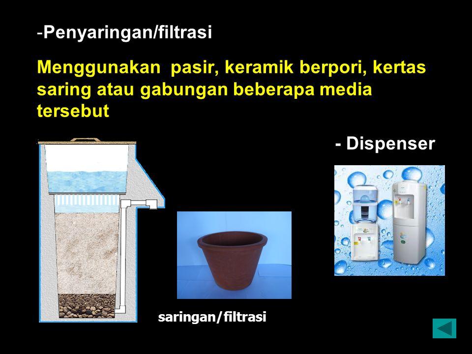 - -Penyaringan/filtrasi Menggunakan pasir, keramik berpori, kertas saring atau gabungan beberapa media tersebut saringan/filtrasi - Dispenser