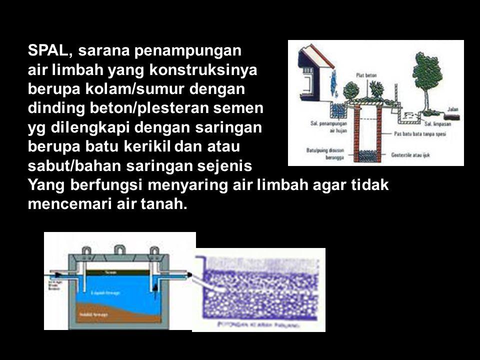 SPAL, sarana penampungan air limbah yang konstruksinya berupa kolam/sumur dengan dinding beton/plesteran semen yg dilengkapi dengan saringan berupa batu kerikil dan atau sabut/bahan saringan sejenis Yang berfungsi menyaring air limbah agar tidak mencemari air tanah.