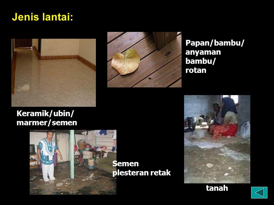 Jenis lantai: Keramik/ubin/ marmer/semen Semen plesteran retak Papan/bambu/ anyaman bambu/ rotan tanah