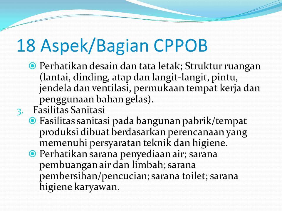 18 Aspek/Bagian CPPOB 1. Lokasi Untuk menetapkan letak pabrik/tempat produksi perlu mempertimbangkan lokasi dan keadaan lingkungan yang bebas dari sum