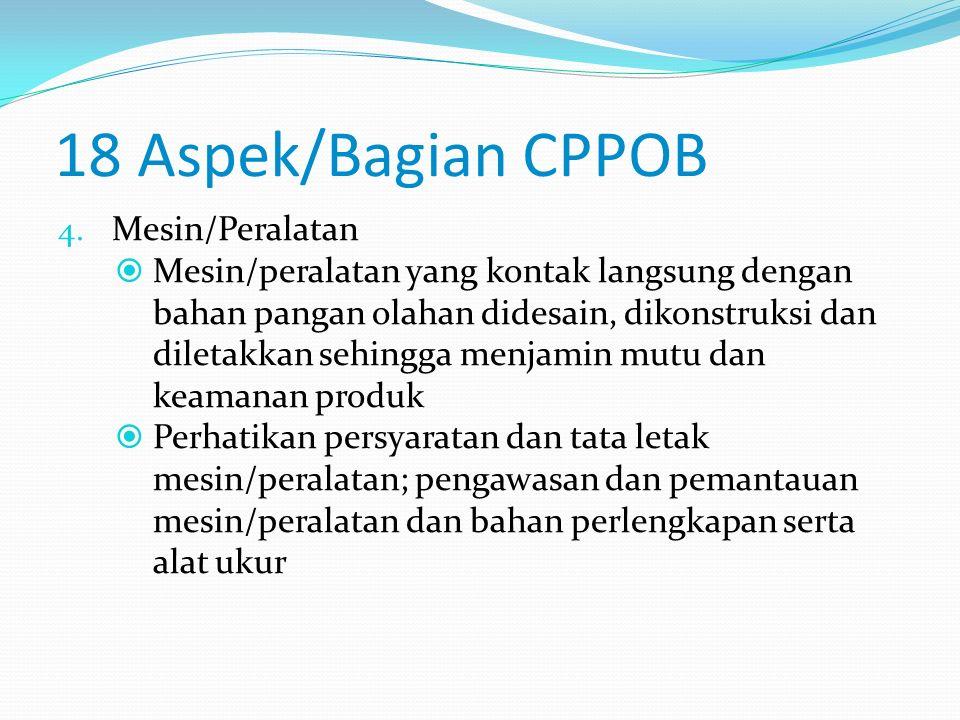 18 Aspek/Bagian CPPOB  Perhatikan desain dan tata letak; Struktur ruangan (lantai, dinding, atap dan langit-langit, pintu, jendela dan ventilasi, per