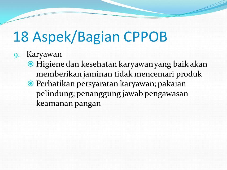 18 Aspek/Bagian CPPOB 7. Produk Akhir  Diperlukan spesifikasi produk akhir  Perhatikan persyaratan produk akhir 8. Laboratorium  Adanya laboratoriu