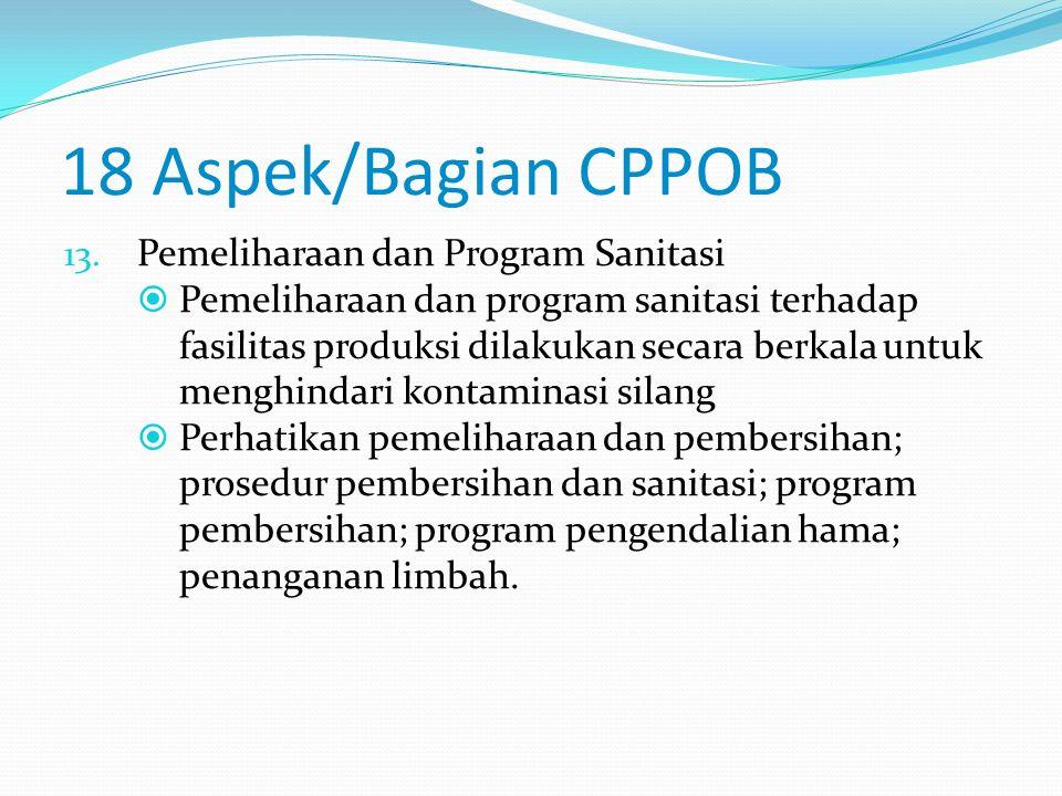 18 Aspek/Bagian CPPOB 12. Penyimpanan  Penyimpanan bahan dan produk akhir dilakukan dengan baik agar tetap aman dan bermutu.  Perhatikan cara penyim