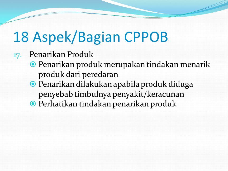 18 Aspek/Bagian CPPOB 16. Pelatihan  Pelatihan dan pembinaan merupakan hal yang penting dalam melaksanakan sistem higiene  Kurangnya pelatihan dan p