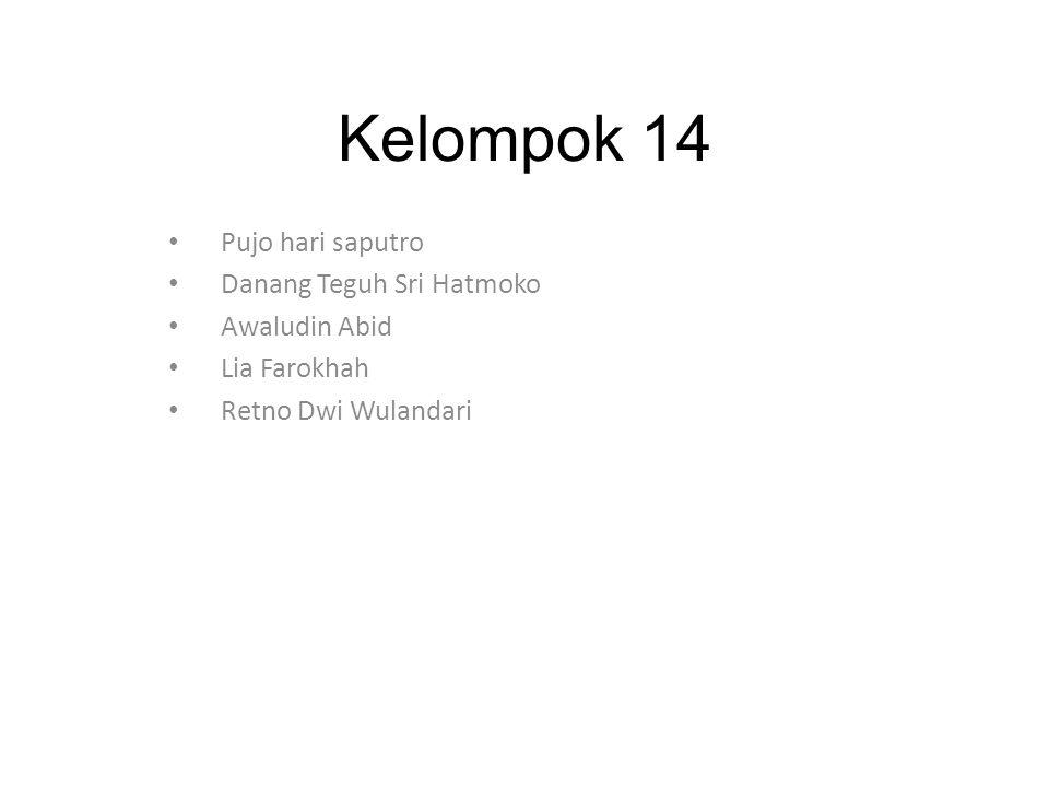 Kelompok 14 Pujo hari saputro Danang Teguh Sri Hatmoko Awaludin Abid Lia Farokhah Retno Dwi Wulandari