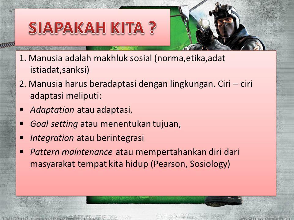 1. Manusia adalah makhluk sosial (norma,etika,adat istiadat,sanksi) 2. Manusia harus beradaptasi dengan lingkungan. Ciri – ciri adaptasi meliputi:  A