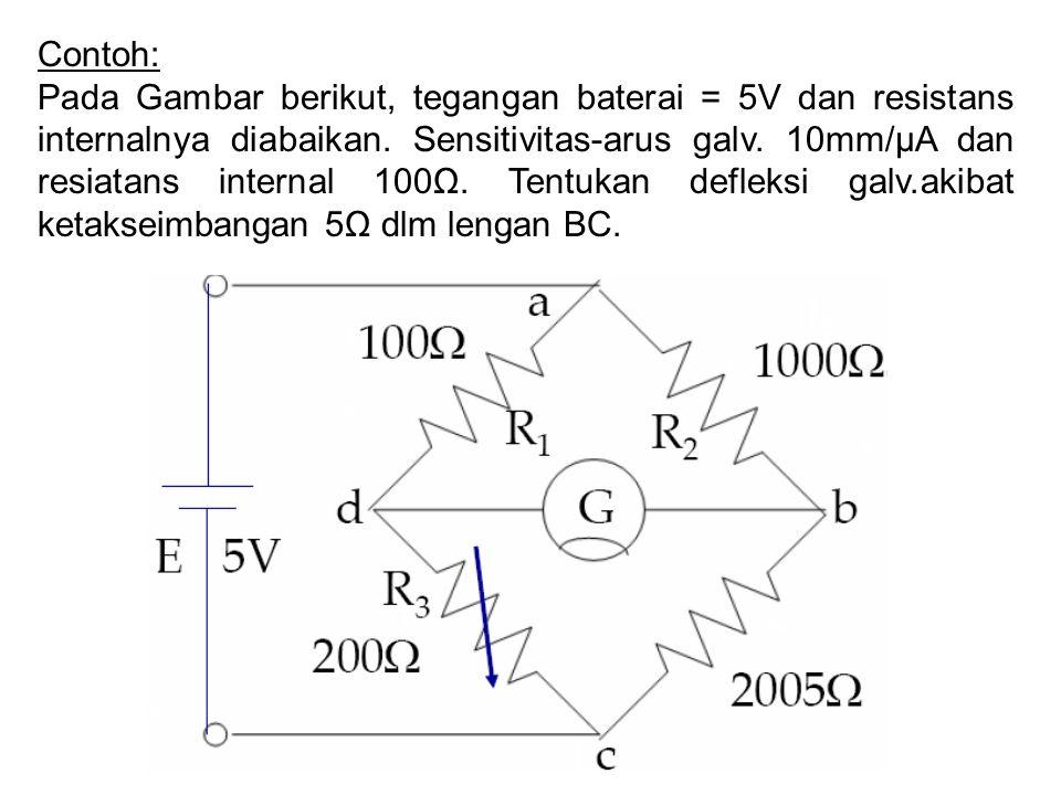 Contoh: Pada Gambar berikut, tegangan baterai = 5V dan resistans internalnya diabaikan.