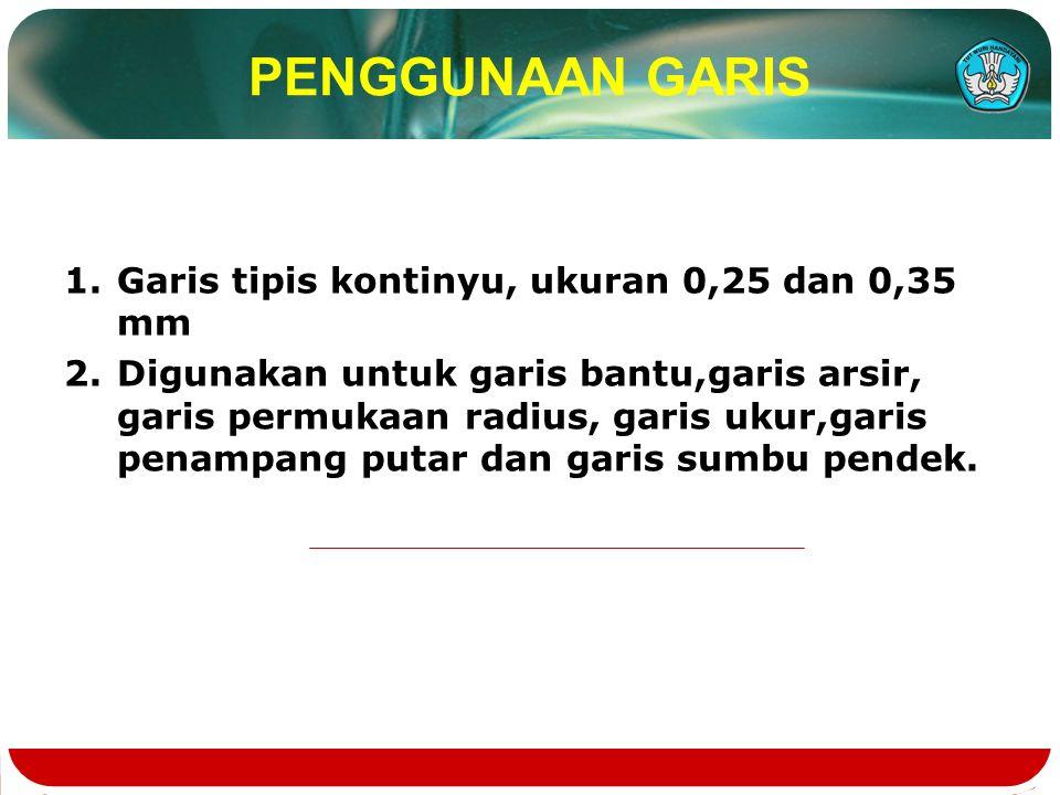 PENGGUNAAN GARIS 1.Garis tipis kontinyu, ukuran 0,25 dan 0,35 mm 2.Digunakan untuk garis bantu,garis arsir, garis permukaan radius, garis ukur,garis penampang putar dan garis sumbu pendek.