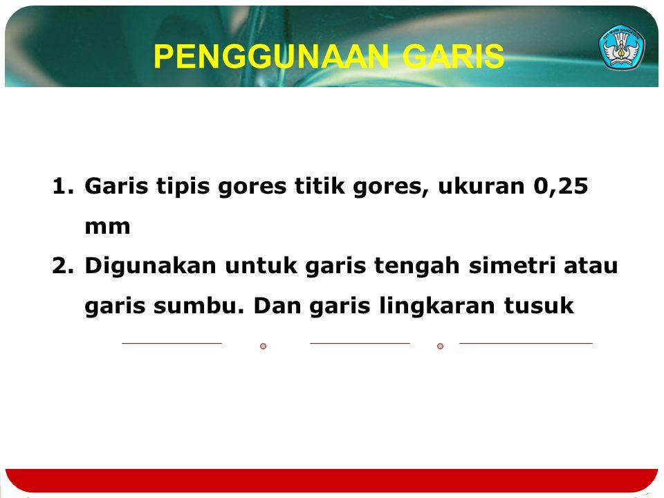 PENGGUNAAN GARIS 1.Garis tipis gores titik gores, ukuran 0,25 mm 2.Digunakan untuk garis tengah simetri atau garis sumbu.