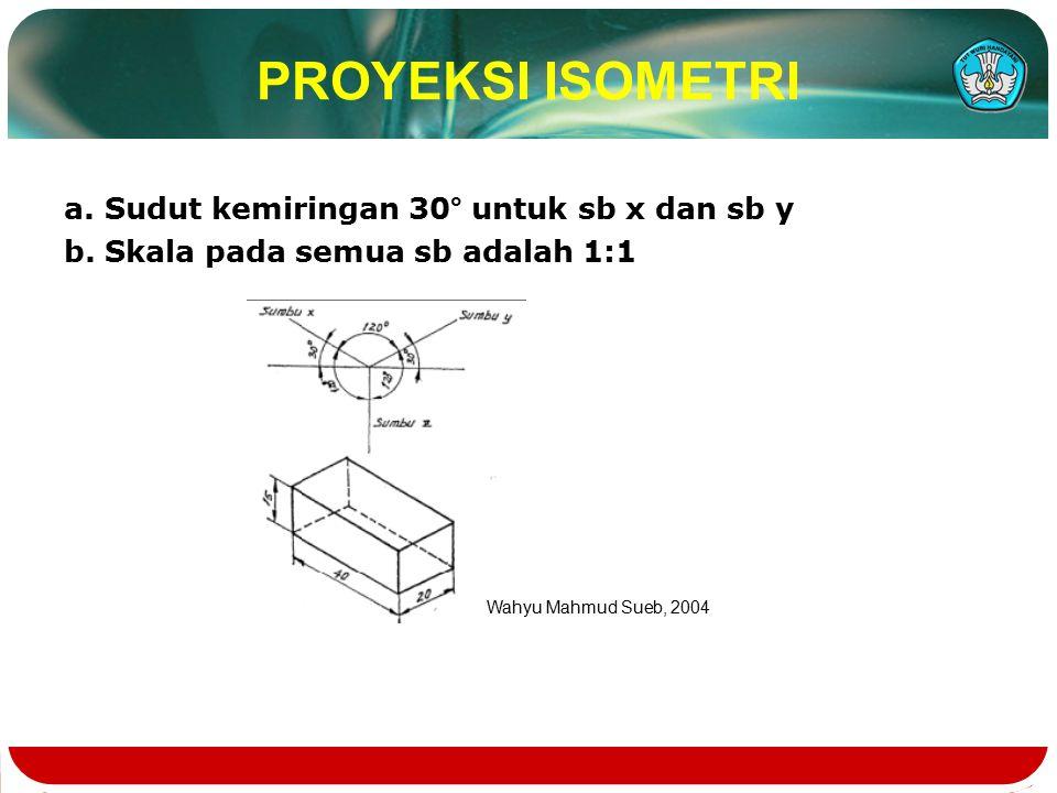 PROYEKSI ISOMETRI a. Sudut kemiringan 30° untuk sb x dan sb y b.
