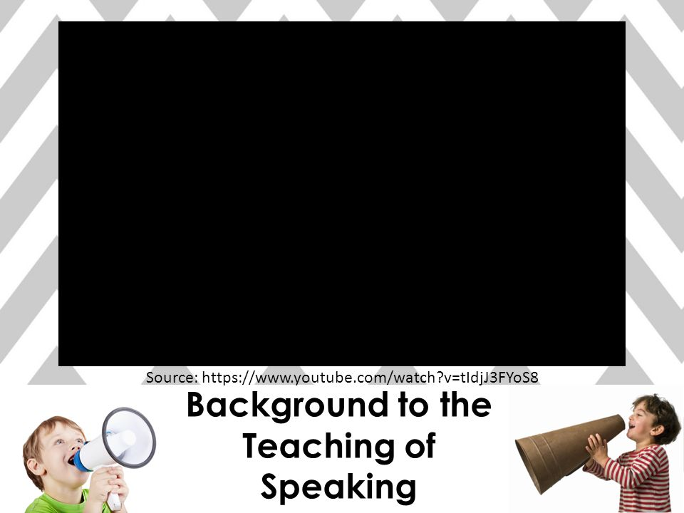 Background to the Teaching of Speaking Source: https://www.youtube.com/watch?v=tIdjJ3FYoS8