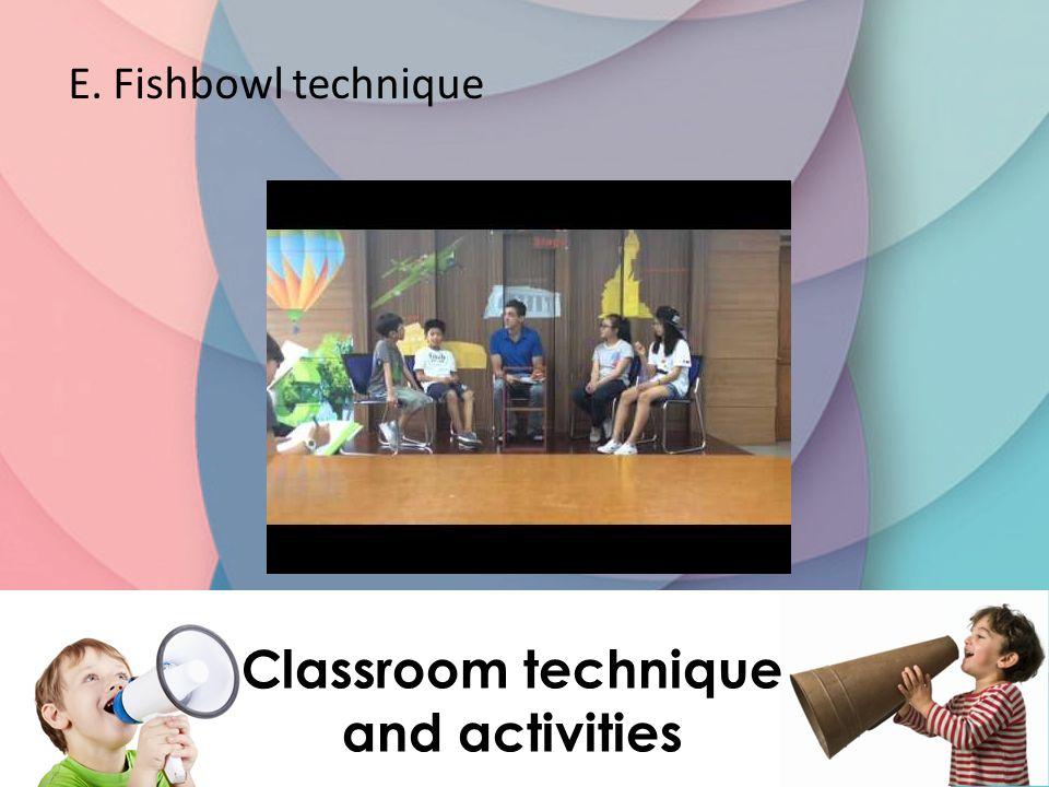 E. Fishbowl technique Classroom technique and activities