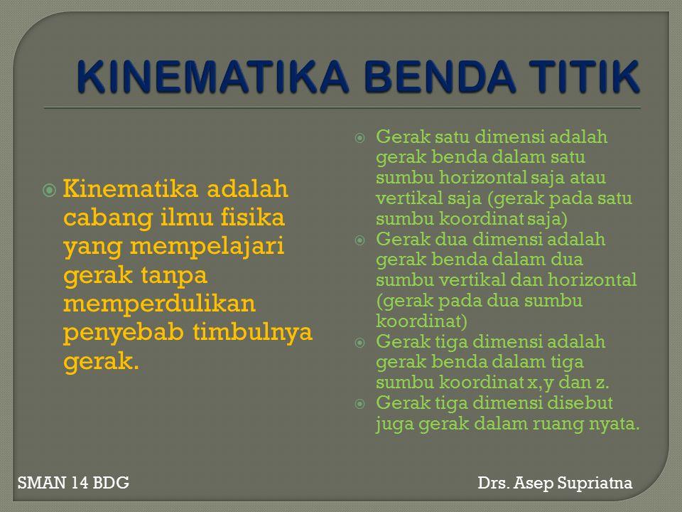  Kinematika adalah cabang ilmu fisika yang mempelajari gerak tanpa memperdulikan penyebab timbulnya gerak.