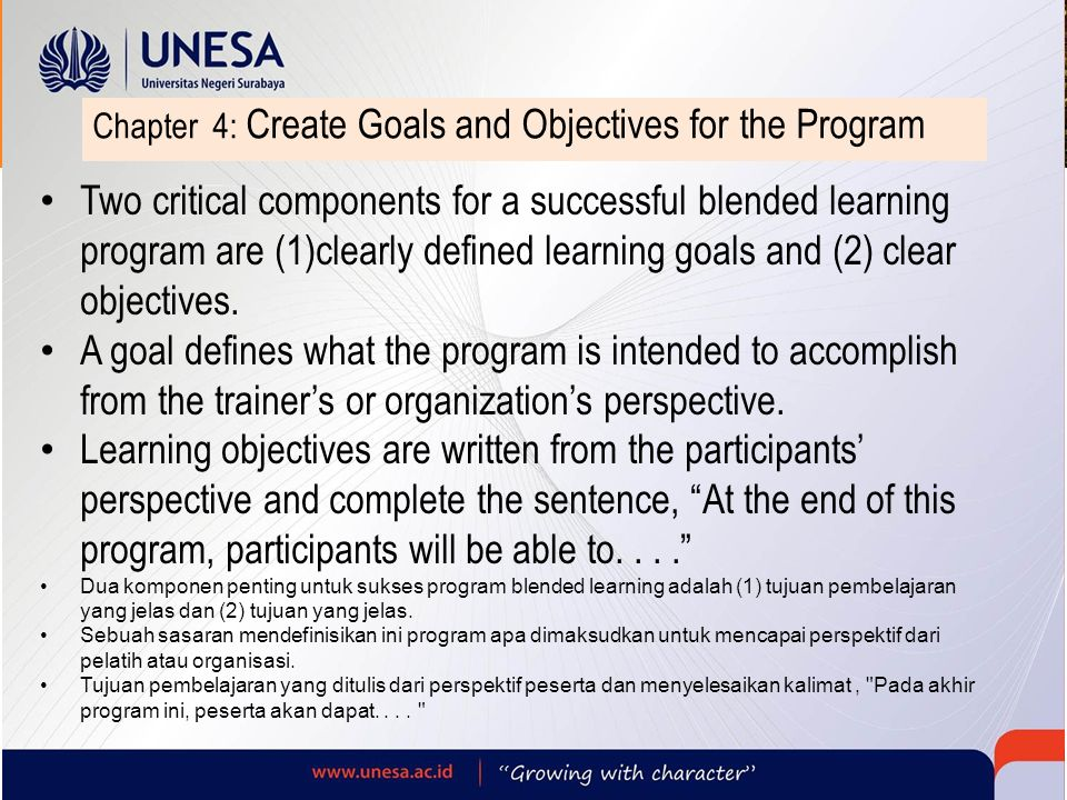 Chapter 4: Create Goals and Objectives for the Program Two critical components for a successful blended learning program are (1)clearly defined learni
