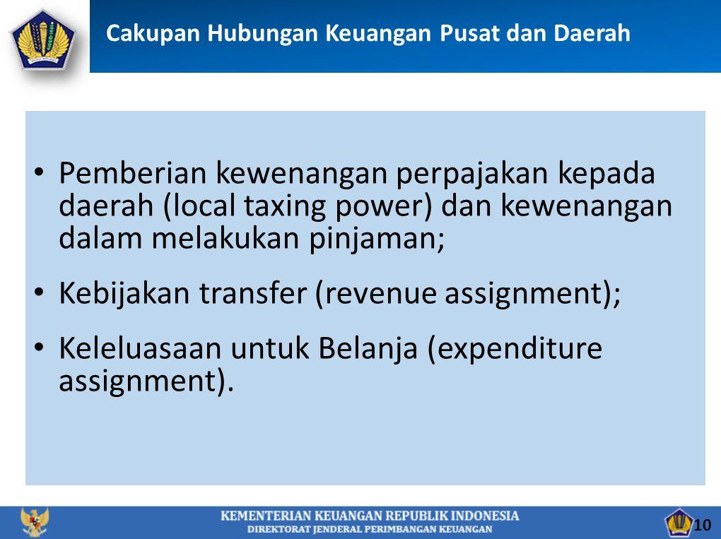 Pemberian kewenangan perpajakan kepada daerah (local taxing power) dan kewenangan dalam melakukan pinjaman; Kebijakan transfer (revenue assignment); Keleluasaan untuk Belanja (expenditure assignment).