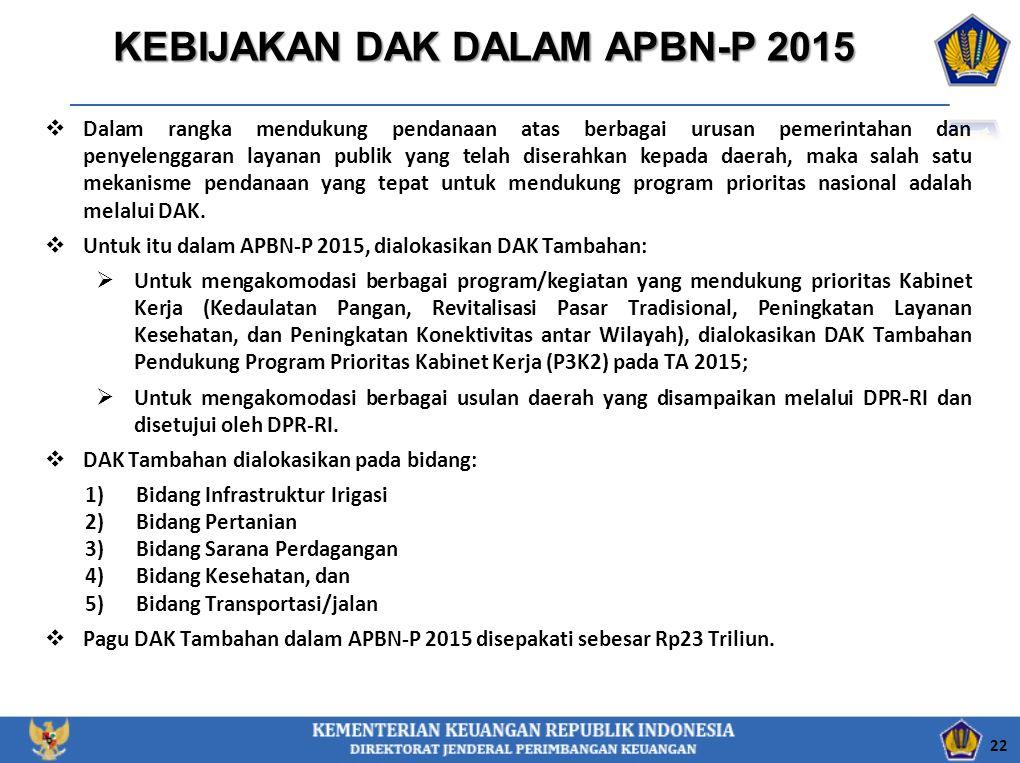KEBIJAKAN DAK DALAM APBN-P 2015  Dalam rangka mendukung pendanaan atas berbagai urusan pemerintahan dan penyelenggaran layanan publik yang telah dise