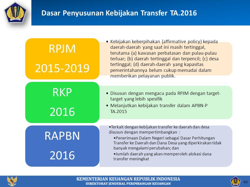 40 Dasar Penyusunan Kebijakan Transfer TA.2016 Kebijakan keberpihakan (affirmative policy) kepada daerah-daerah yang saat ini masih tertinggal, teruta