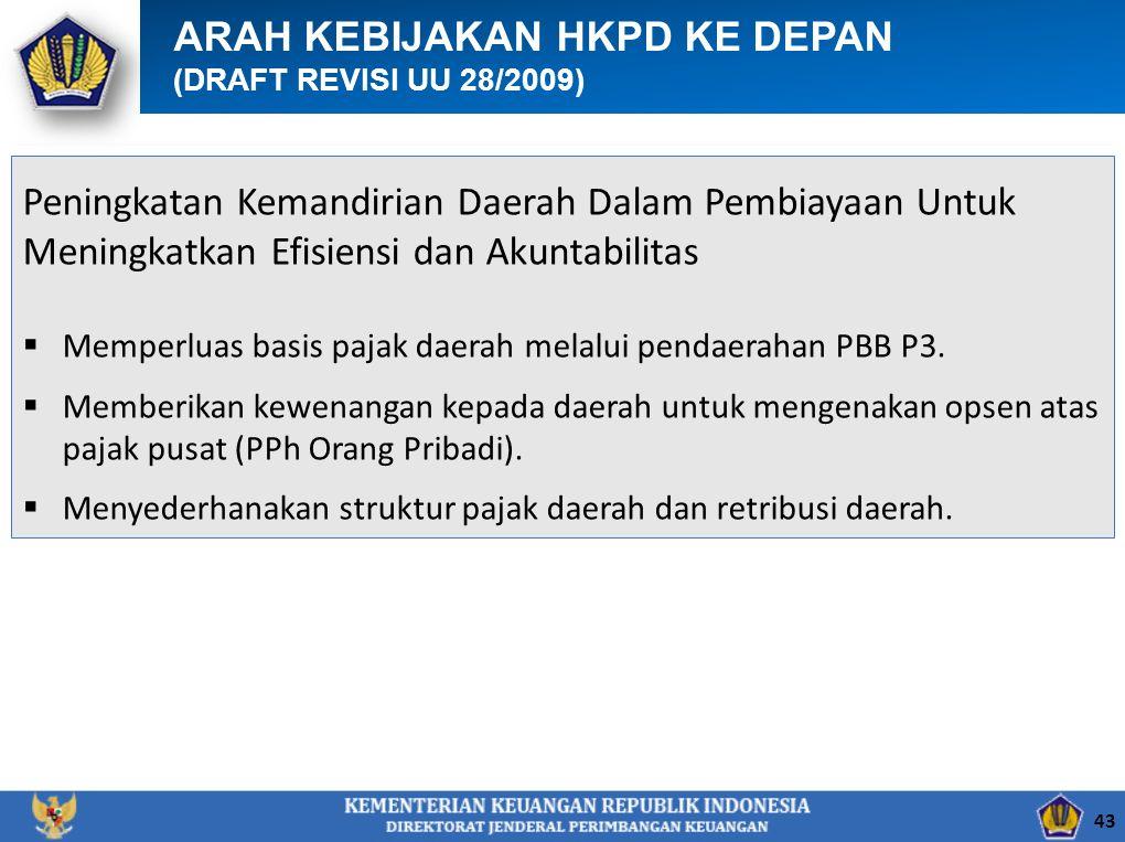 ARAH KEBIJAKAN HKPD KE DEPAN (DRAFT REVISI UU 28/2009) Peningkatan Kemandirian Daerah Dalam Pembiayaan Untuk Meningkatkan Efisiensi dan Akuntabilitas  Memperluas basis pajak daerah melalui pendaerahan PBB P3.