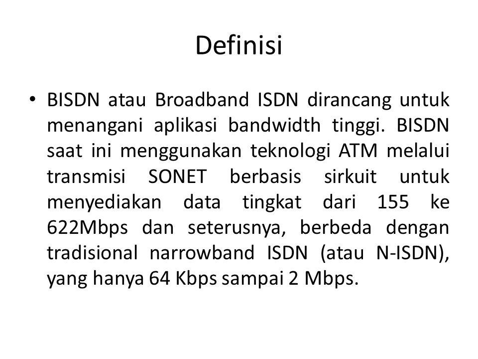Definisi BISDN atau Broadband ISDN dirancang untuk menangani aplikasi bandwidth tinggi.