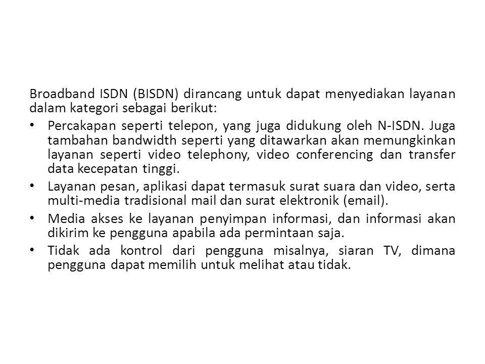 Broadband ISDN (BISDN) dirancang untuk dapat menyediakan layanan dalam kategori sebagai berikut: Percakapan seperti telepon, yang juga didukung oleh N-ISDN.