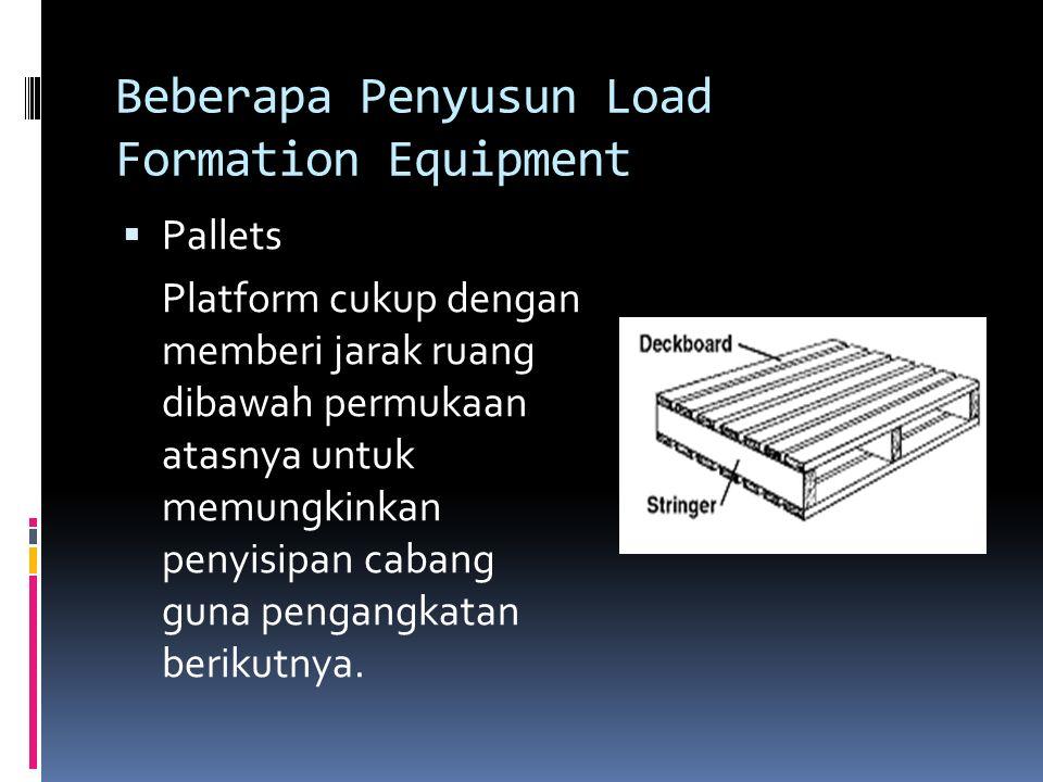 Beberapa Penyusun Load Formation Equipment  Pallets Platform cukup dengan memberi jarak ruang dibawah permukaan atasnya untuk memungkinkan penyisipan