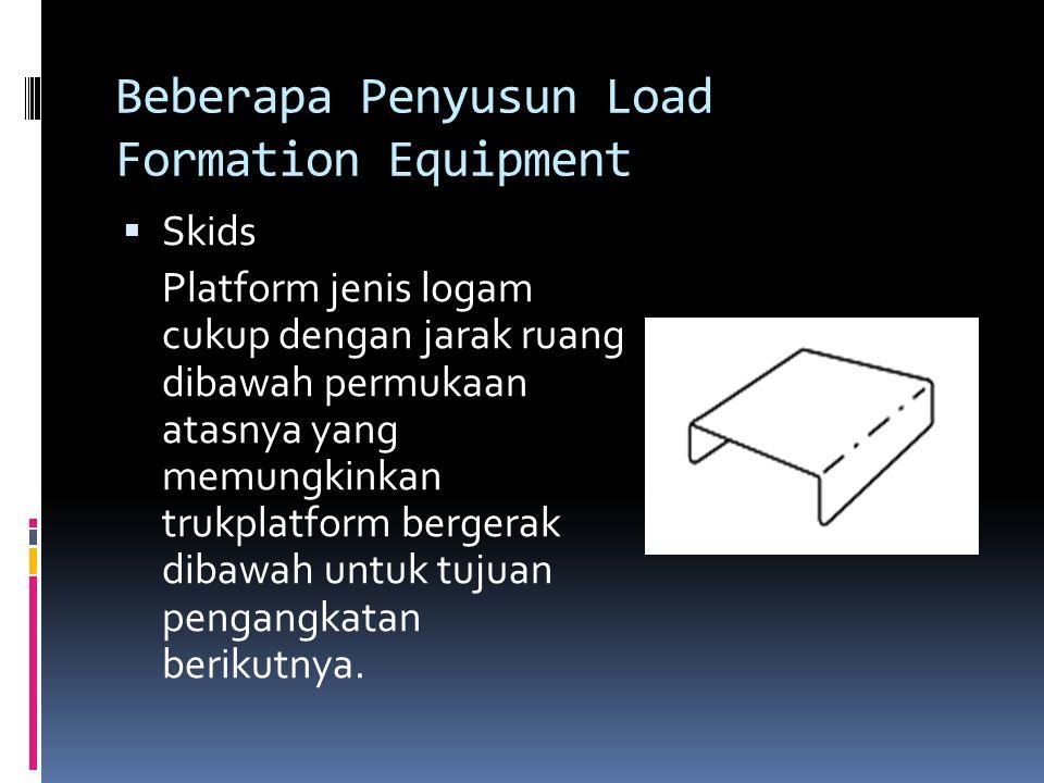 Beberapa Penyusun Load Formation Equipment  Skids Platform jenis logam cukup dengan jarak ruang dibawah permukaan atasnya yang memungkinkan trukplatf