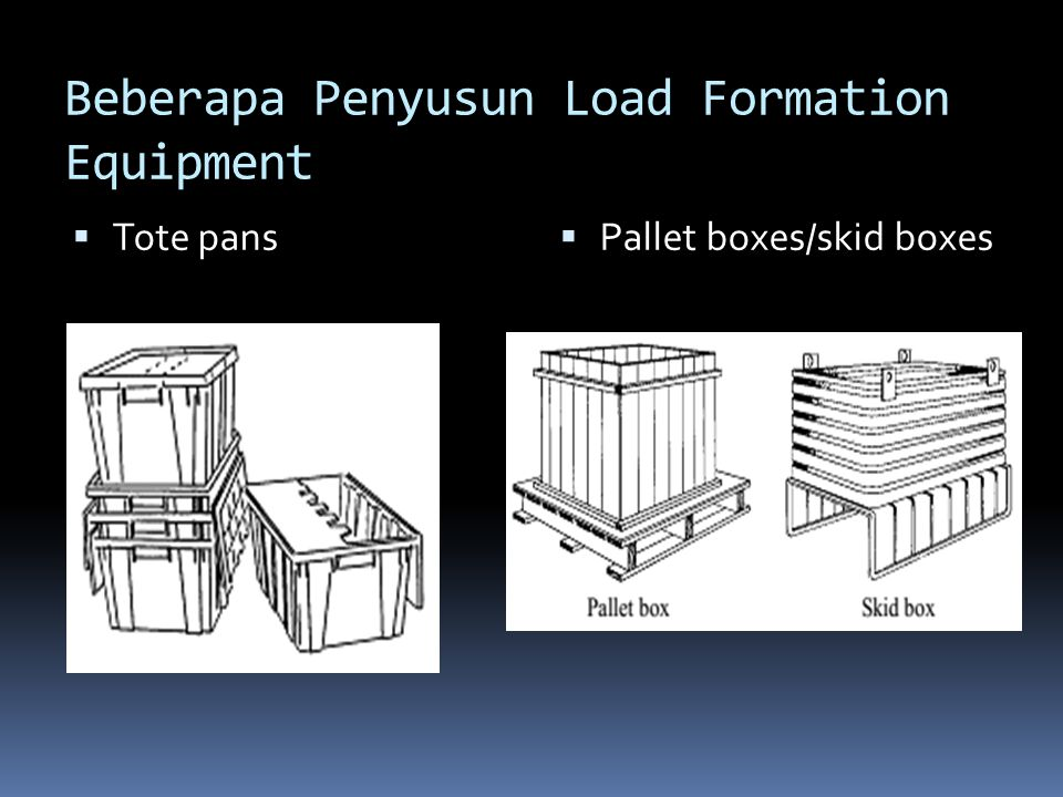  Tote pans  Pallet boxes/skid boxes Beberapa Penyusun Load Formation Equipment