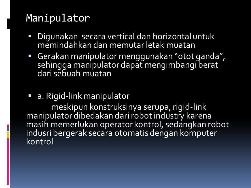 """Manipulator  Digunakan secara vertical dan horizontal untuk memindahkan dan memutar letak muatan  Gerakan manipulator menggunakan """"otot ganda"""", sehi"""