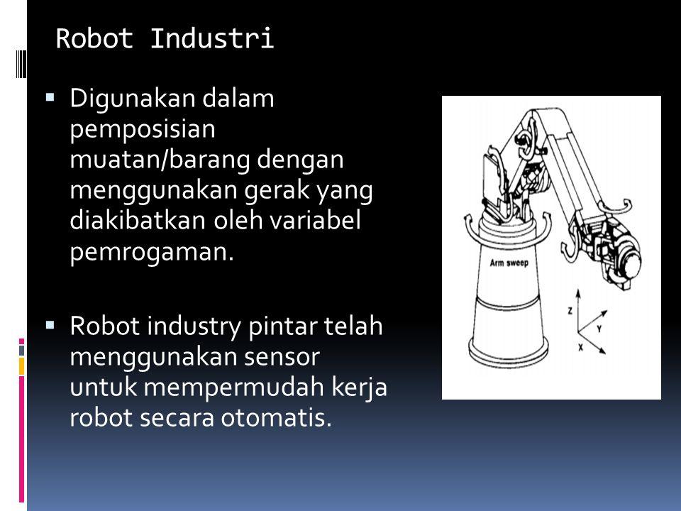 Robot Industri  Digunakan dalam pemposisian muatan/barang dengan menggunakan gerak yang diakibatkan oleh variabel pemrogaman.  Robot industry pintar