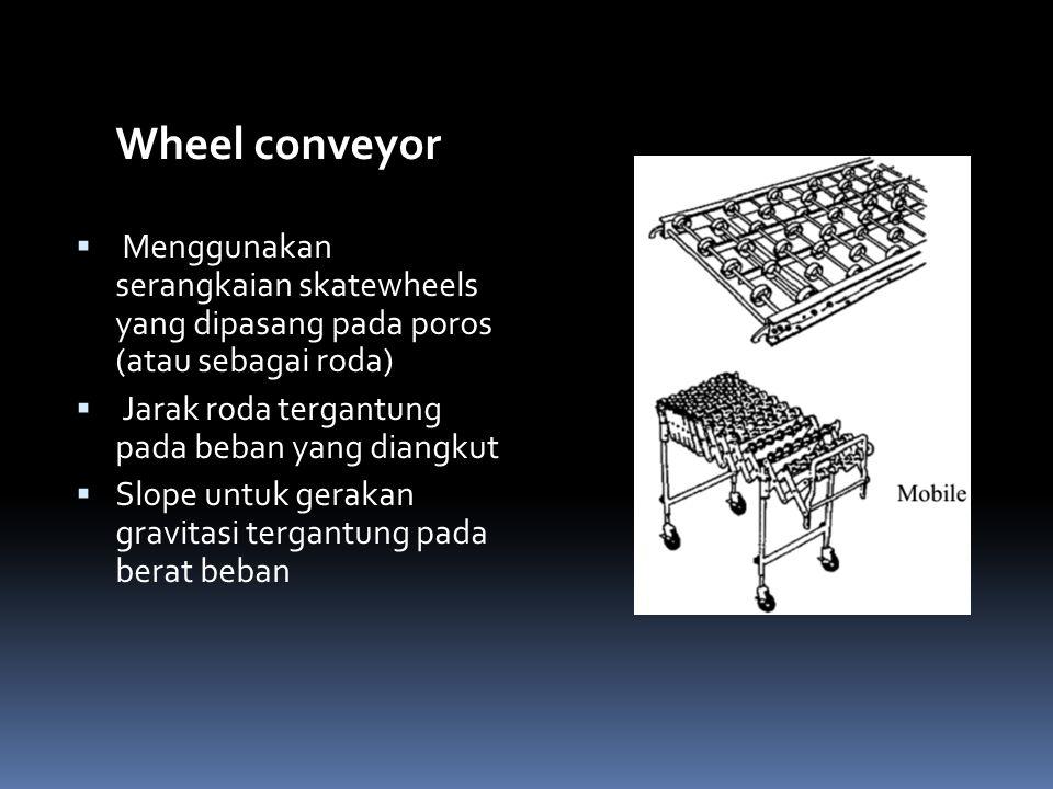 Wheel conveyor  Menggunakan serangkaian skatewheels yang dipasang pada poros (atau sebagai roda)  Jarak roda tergantung pada beban yang diangkut  S