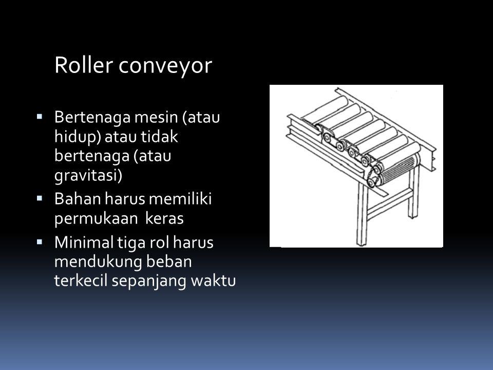 Roller conveyor  Bertenaga mesin (atau hidup) atau tidak bertenaga (atau gravitasi)  Bahan harus memiliki permukaan keras  Minimal tiga rol harus m