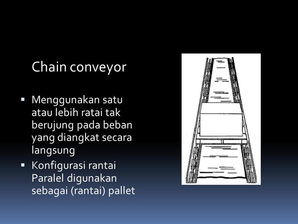 Chain conveyor  Menggunakan satu atau lebih ratai tak berujung pada beban yang diangkat secara langsung  Konfigurasi rantai Paralel digunakan sebaga