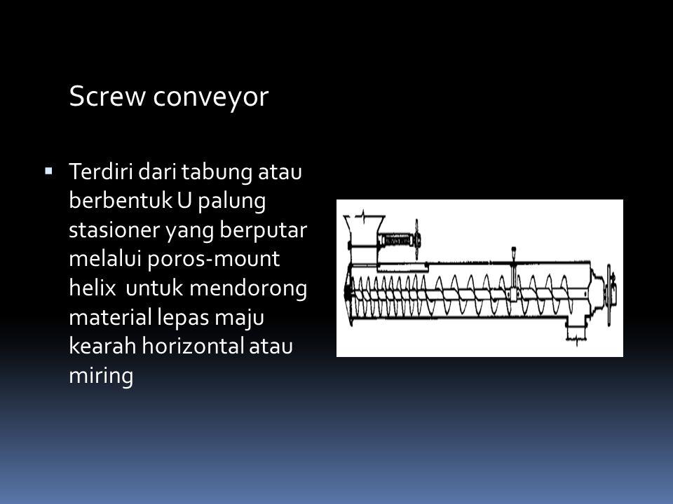 Screw conveyor  Terdiri dari tabung atau berbentuk U palung stasioner yang berputar melalui poros-mount helix untuk mendorong material lepas maju kea
