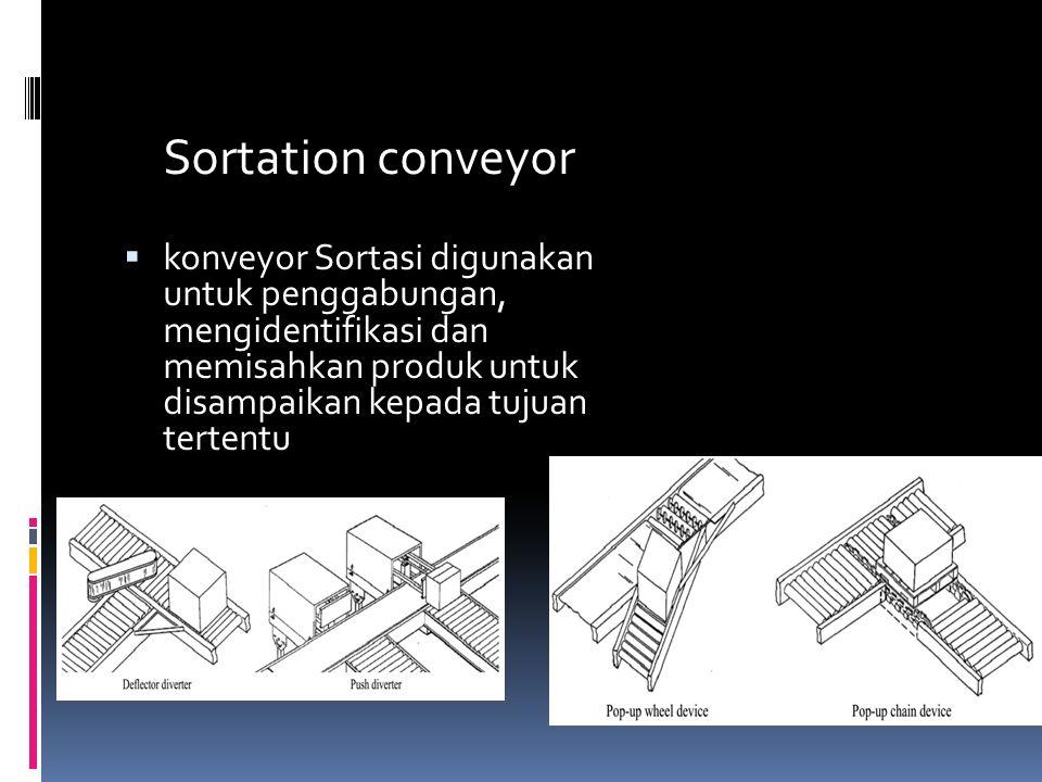 Sortation conveyor  konveyor Sortasi digunakan untuk penggabungan, mengidentifikasi dan memisahkan produk untuk disampaikan kepada tujuan tertentu