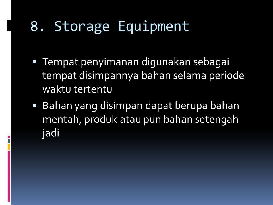 8. Storage Equipment  Tempat penyimanan digunakan sebagai tempat disimpannya bahan selama periode waktu tertentu  Bahan yang disimpan dapat berupa b