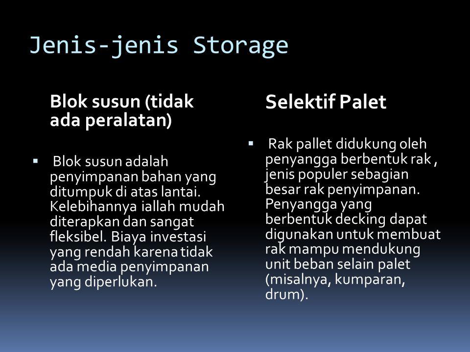 Jenis-jenis Storage Blok susun (tidak ada peralatan)  Blok susun adalah penyimpanan bahan yang ditumpuk di atas lantai. Kelebihannya iallah mudah dit