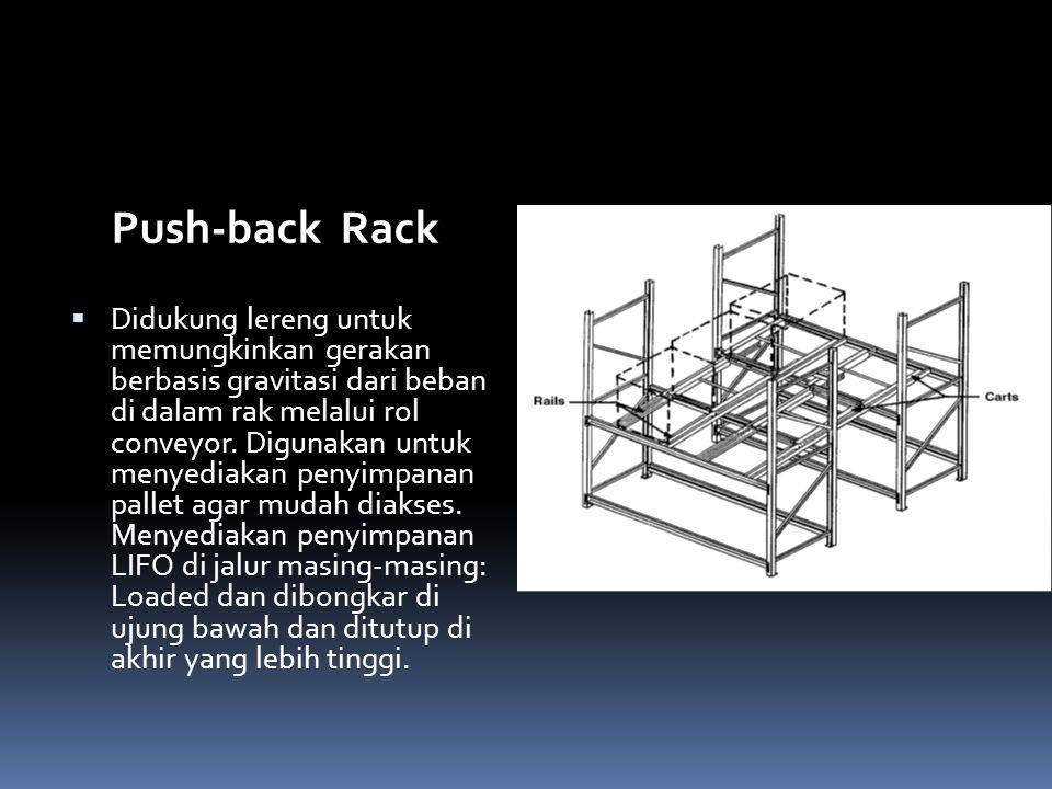 Push-back Rack  Didukung lereng untuk memungkinkan gerakan berbasis gravitasi dari beban di dalam rak melalui rol conveyor. Digunakan untuk menyediak