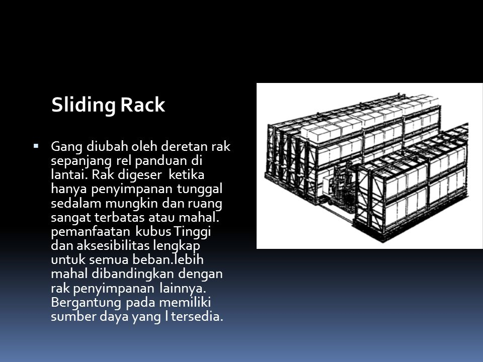 Sliding Rack  Gang diubah oleh deretan rak sepanjang rel panduan di lantai. Rak digeser ketika hanya penyimpanan tunggal sedalam mungkin dan ruang sa
