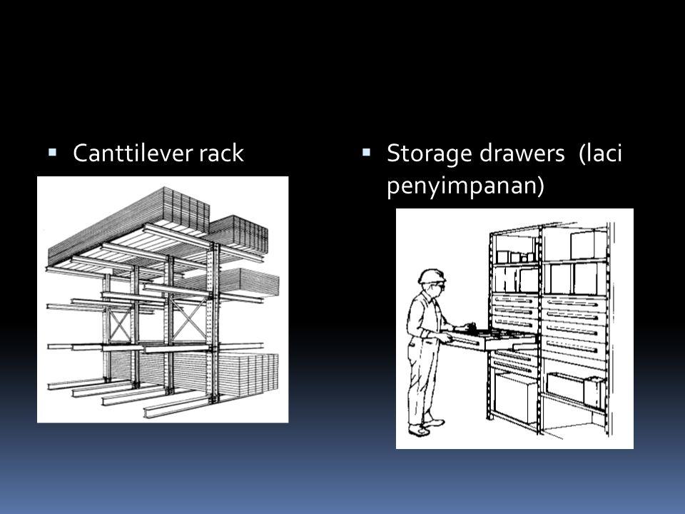  Canttilever rack  Storage drawers (laci penyimpanan)