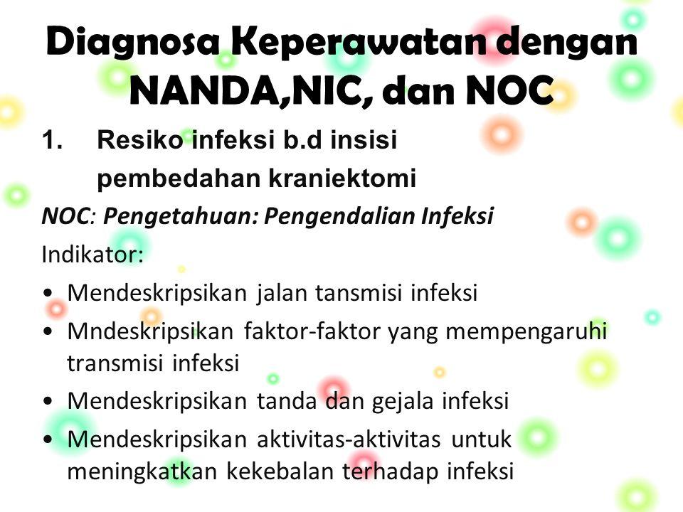Diagnosa Keperawatan dengan NANDA,NIC, dan NOC 1.Resiko infeksi b.d insisi pembedahan kraniektomi NOC: Pengetahuan: Pengendalian Infeksi Indikator: Mendeskripsikan jalan tansmisi infeksi Mndeskripsikan faktor-faktor yang mempengaruhi transmisi infeksi Mendeskripsikan tanda dan gejala infeksi Mendeskripsikan aktivitas-aktivitas untuk meningkatkan kekebalan terhadap infeksi