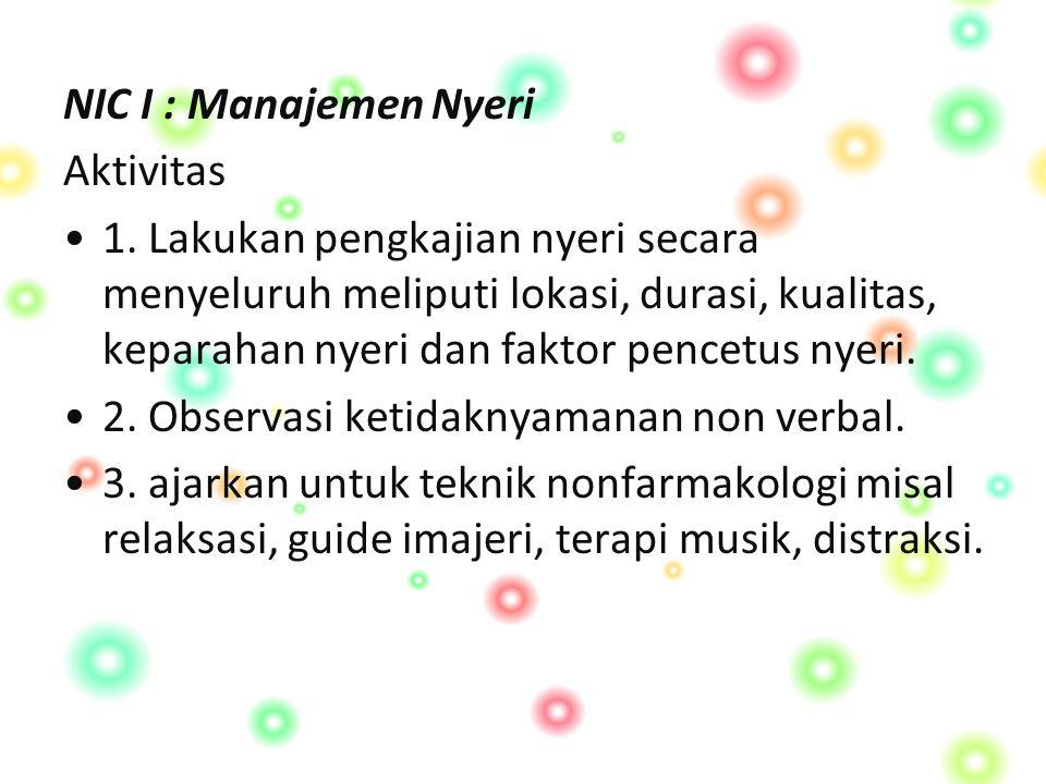 NIC I : Manajemen Nyeri Aktivitas 1.