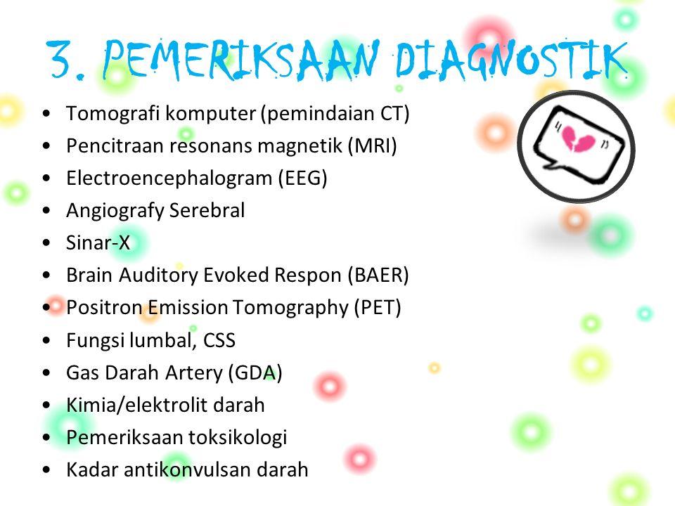 3. PEMERIKSAAN DIAGNOSTIK Tomografi komputer (pemindaian CT) Pencitraan resonans magnetik (MRI) Electroencephalogram (EEG) Angiografy Serebral Sinar-X