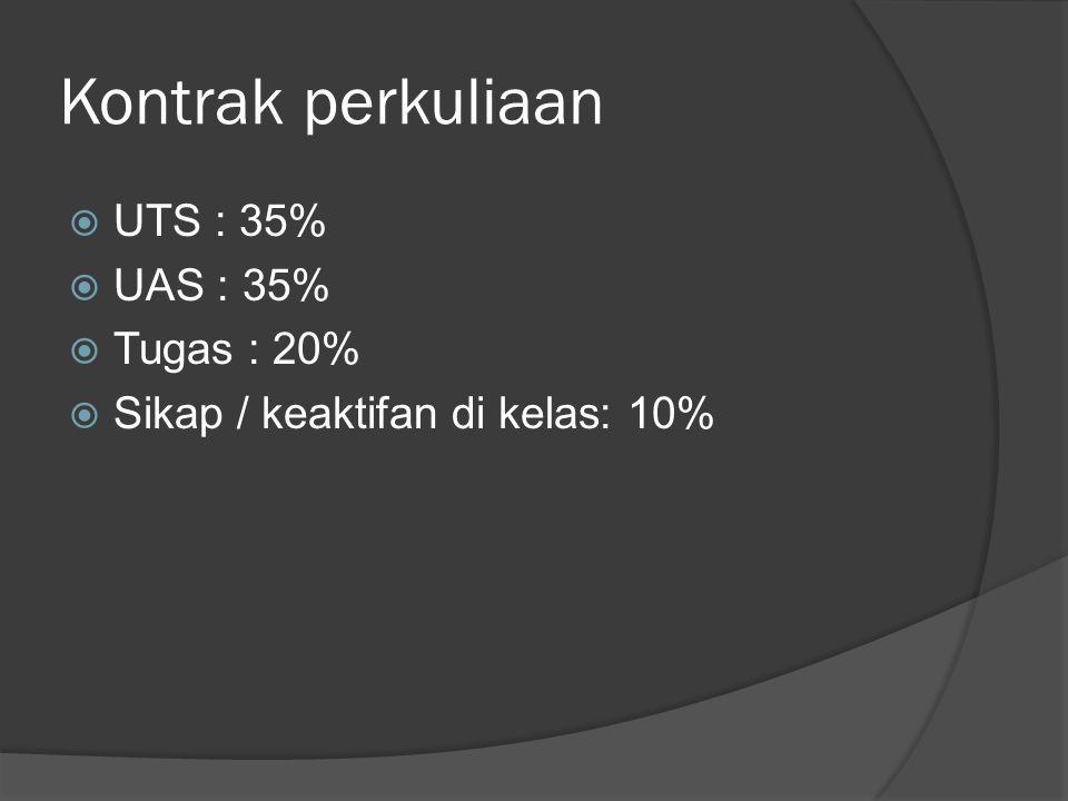 Kontrak perkuliaan  UTS : 35%  UAS : 35%  Tugas : 20%  Sikap / keaktifan di kelas: 10%